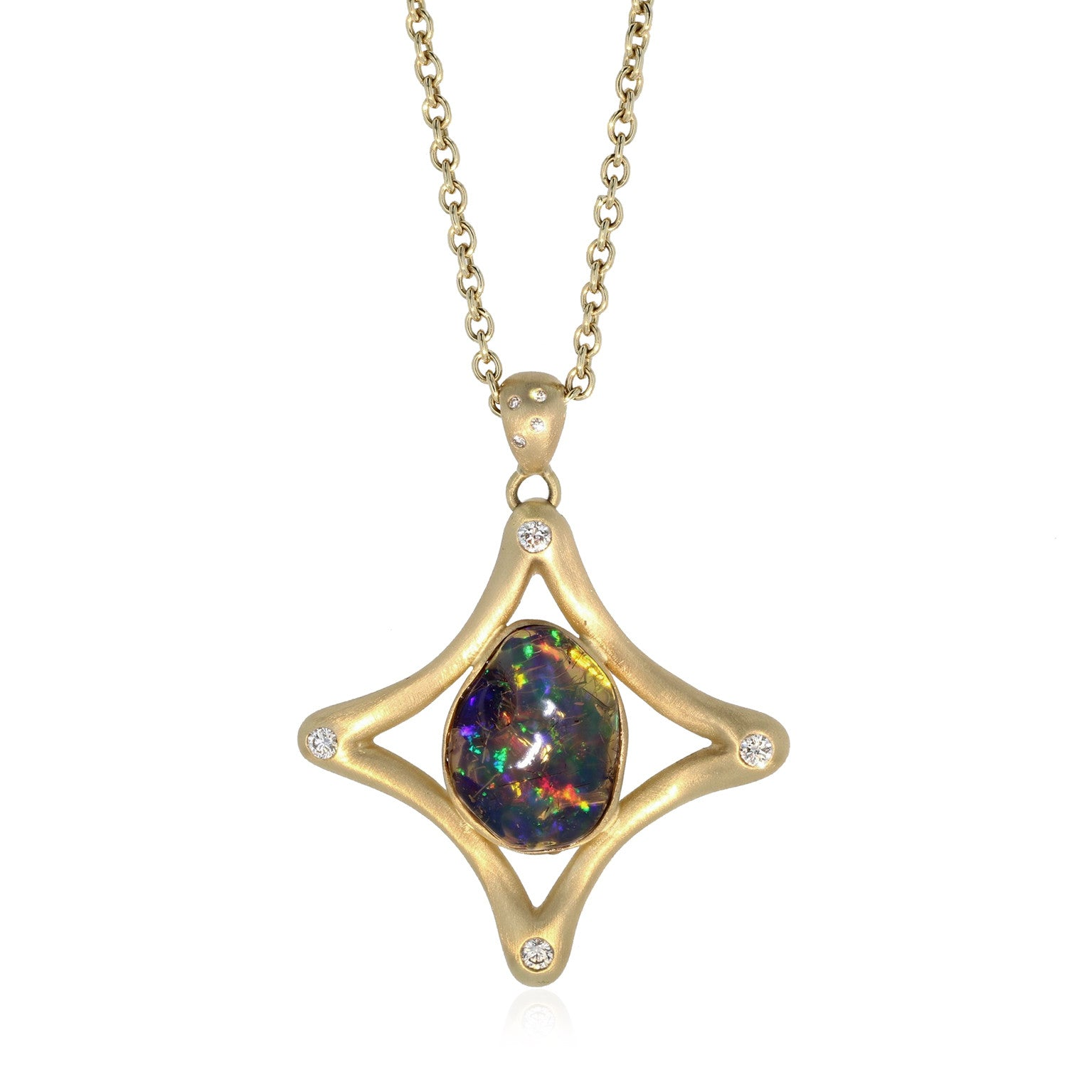Etoile Pendant with Water Opal - 18K Yellow Gold