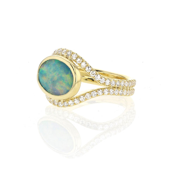 Black Opal in 18k Yellow Gold with Diamond Pave