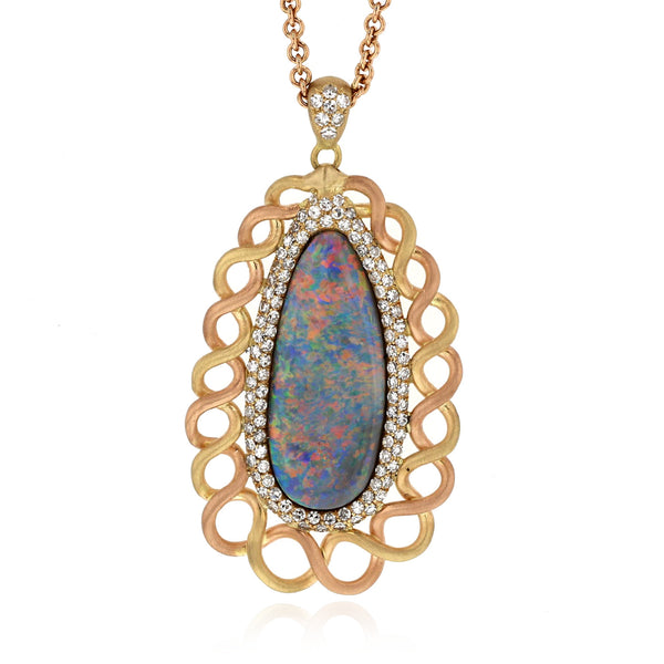 Sea Foam Pendant with Crystal Opal - 18k yellow gold