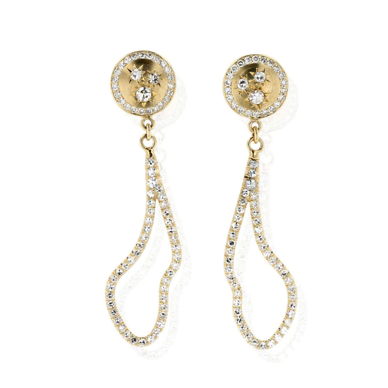 Button Stud Earrings with Pave diamond cloud drop 18K Yellow Gold