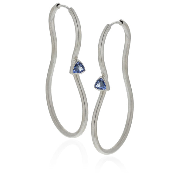 Del Earrings with Blue Sapphires - 18K White Gold