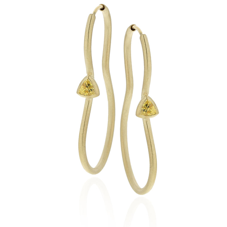 Del Earrings with Citrine Trillions - 18K Yellow Gold