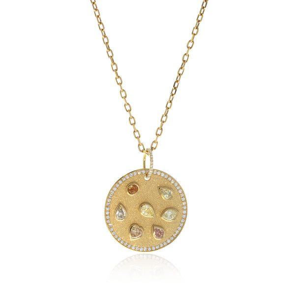 Disk Pendant with Colored diamonds
