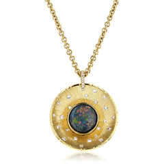 One of a Kind Hand-Made Black Opal and Diamond Medallion Pendant 18K Yellow Gold