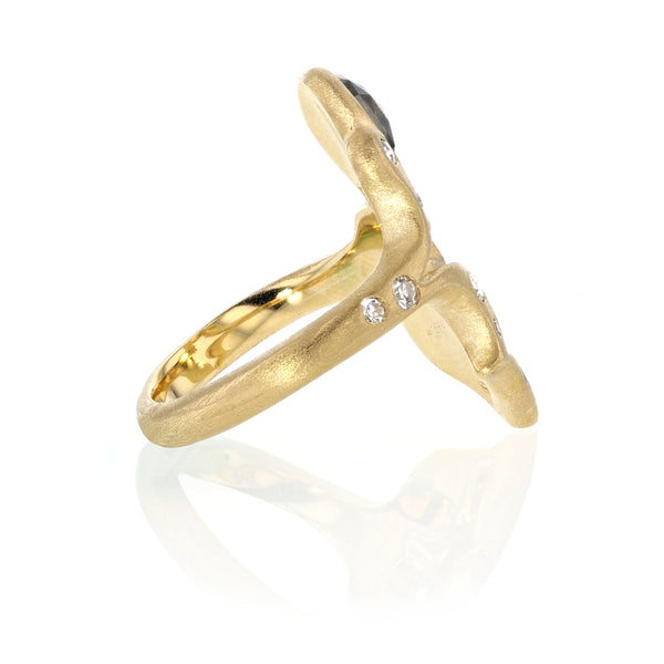 Dragon Ring Colored Diamonds in 18K Yellow Gold