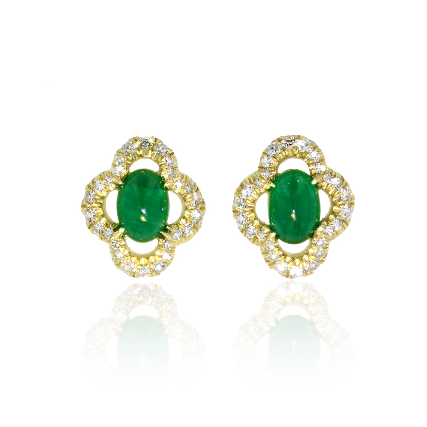Cabochon Emerald and Diamond earrings 18K yellow gold