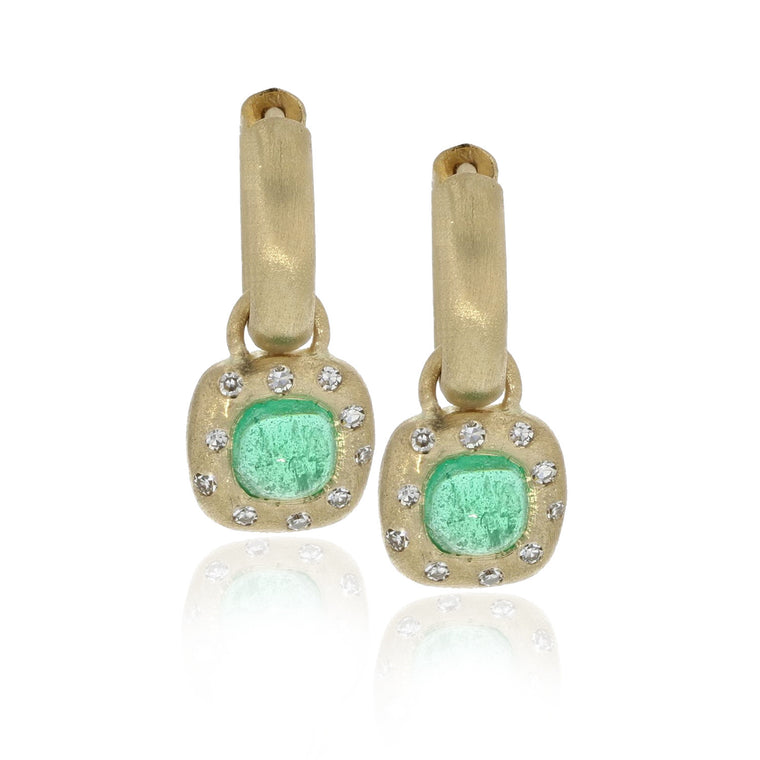 Emerald Huggie Charm Earrings - 18K Yellow Gold