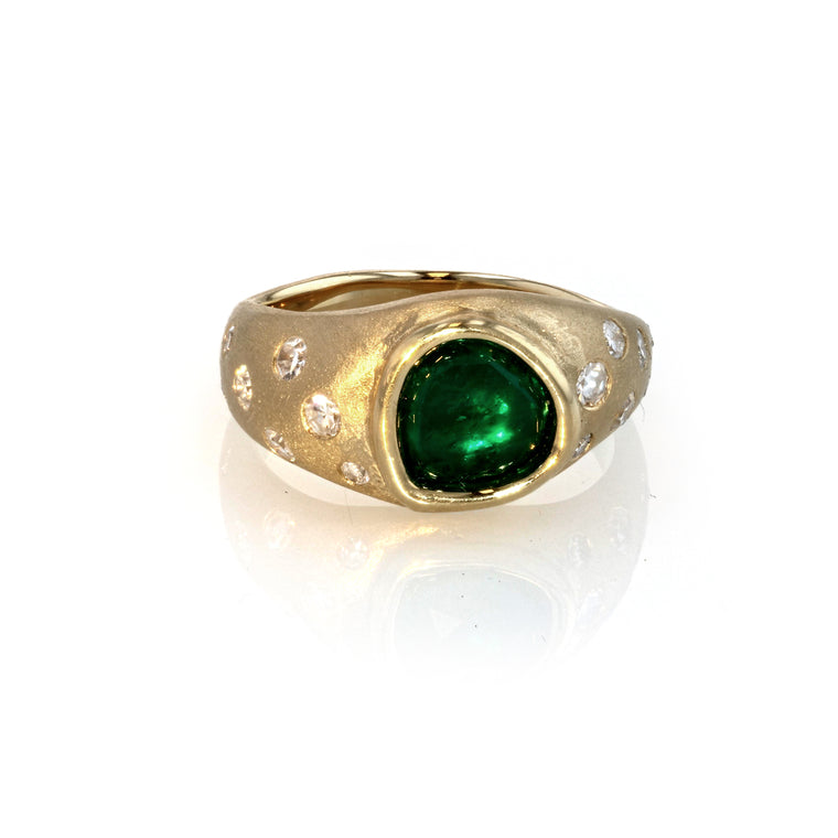 Embedded Emerald Ring