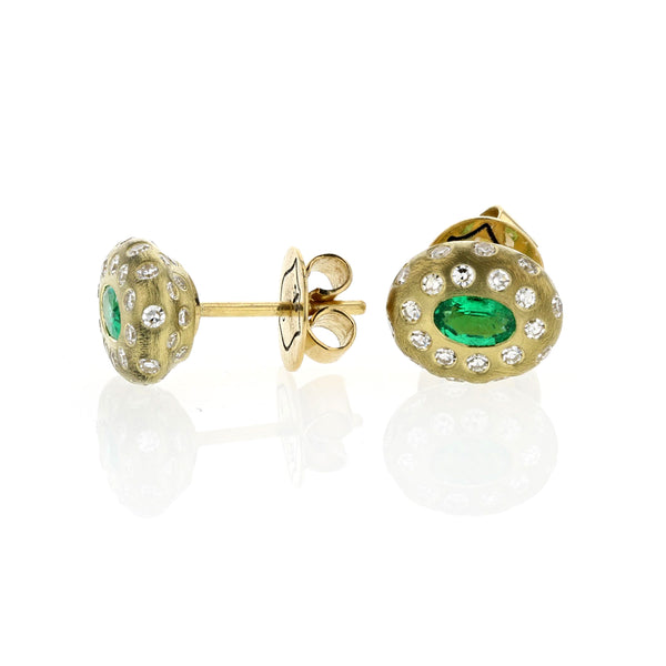 Breeze Emerald And Diamond Studs - 18k Yellow Gold