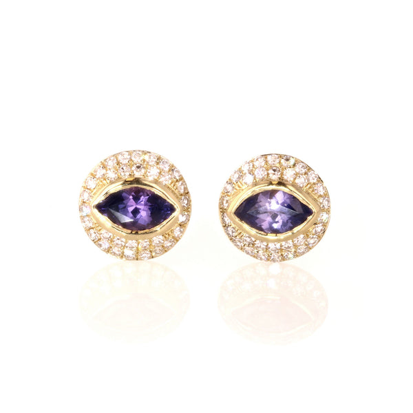 Purple Sapphire and Diamond Cats Eye earrings