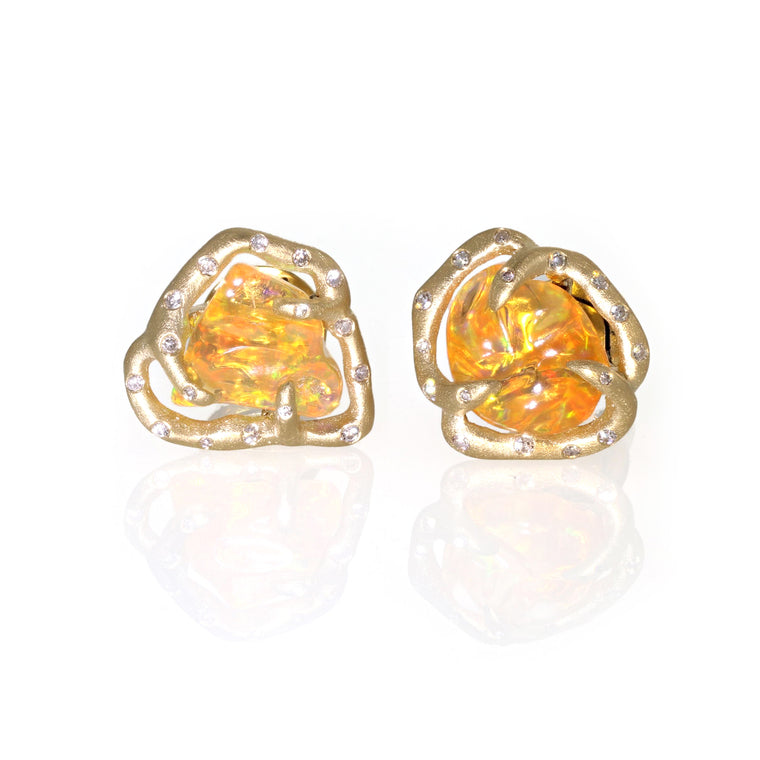 Fire Opal And Diamond Studs - 18k Yellow Gold