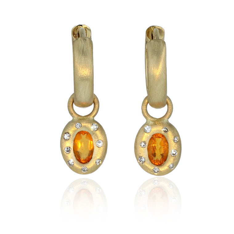 Fire Opal Huggie Charm Earrings - 18K Yellow Gold