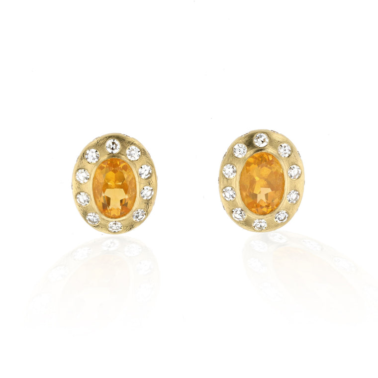 Breeze Fire Opal And Diamond Studs - 18k Yellow Gold
