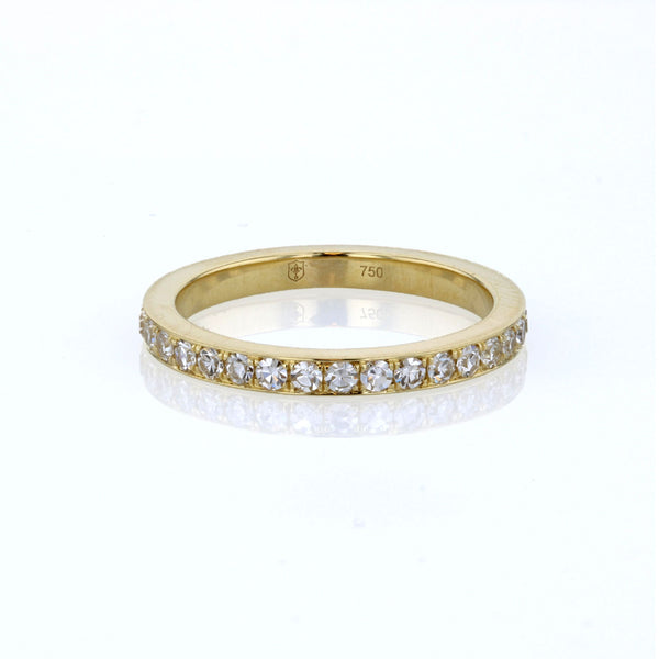 Diamond Bright Cut Pave 18K Yellow Gold Band