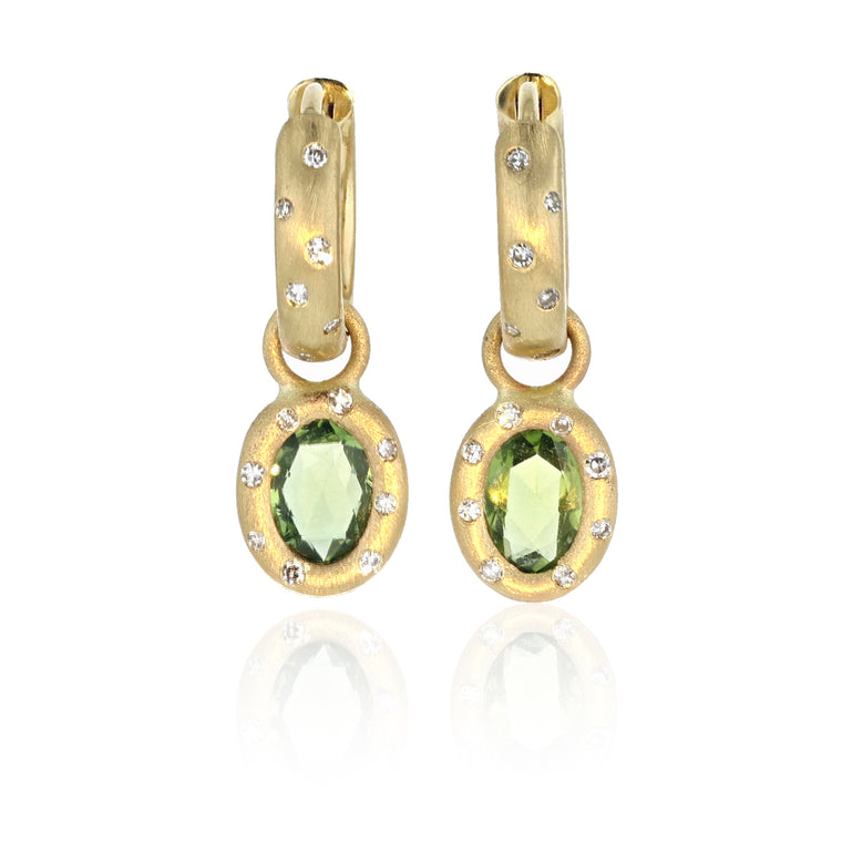 Green Sapphire Huggie Charm Earrings - 18K Yellow Gold