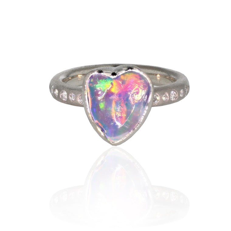 I-Love-My-Opal Ring - Palladium