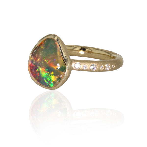 Looking Glass Opal Ring - 18K Yellow Gold