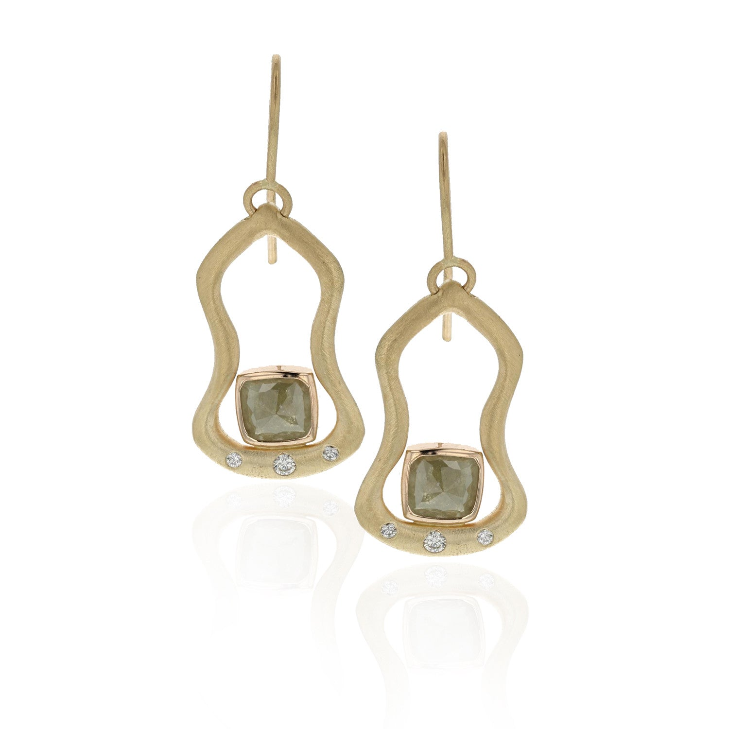 Island Earrings - 18K yellow gold