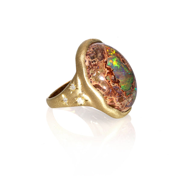 Mexican Opal Ring 18K yellow gold
