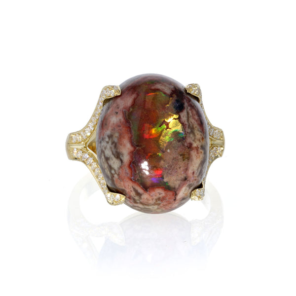 Mexican Matrix Fire Opal Ring