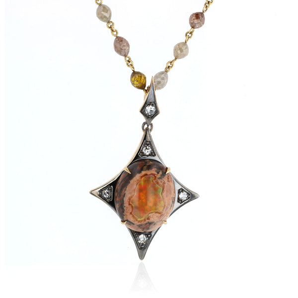 Mexican Matrix Fire Opal pendant with Diamonds - 18k Yellow Gold