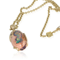 Mexican Matrix Opal Pendant - 18K Yellow Gold