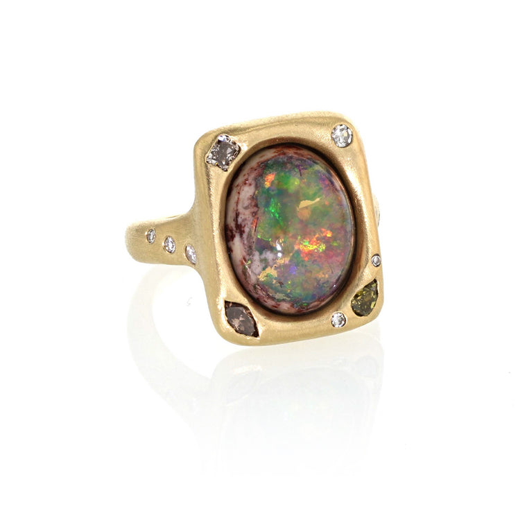 Depths Ring - Mexican Matrix Opal in 18k Yellow Gold