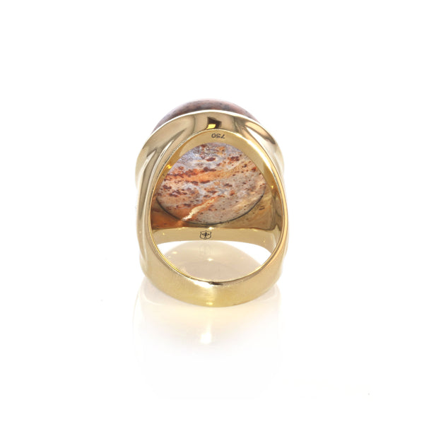 Mexican Matrix Fire Large Opal Ring - 18K yellow gold