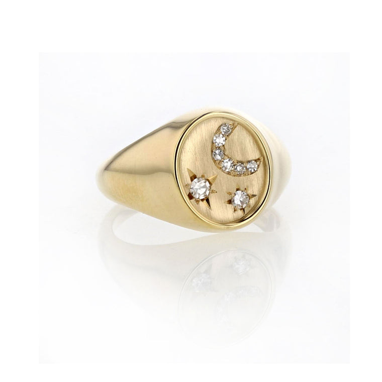 Stars and Moon Signet ring 18K yellow gold