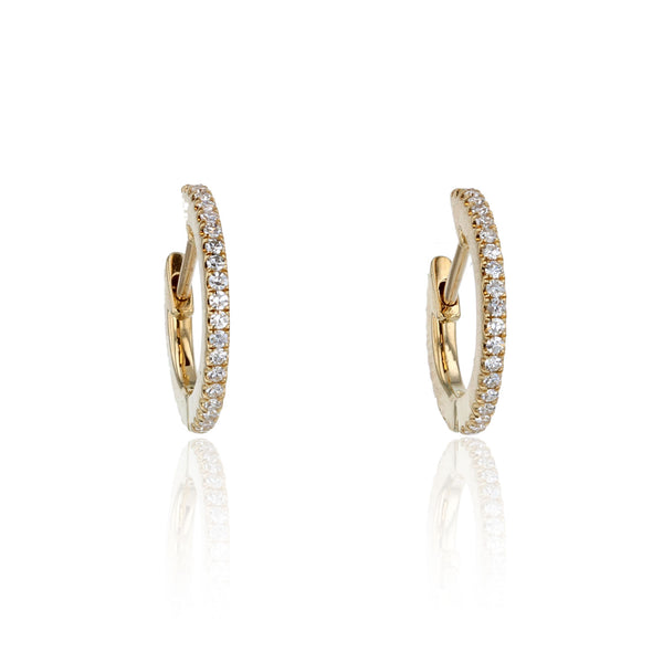 Diamond Pave Huggie hoops - 18K yellow gold