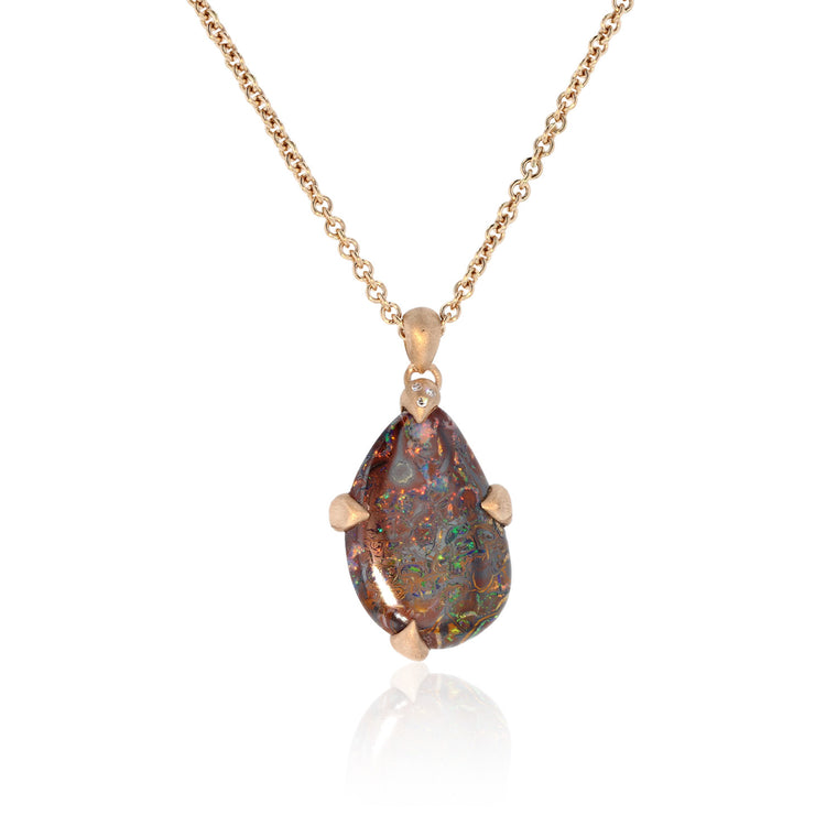 Pinky Brown One of a Kind Opal - 18K Rose Gold