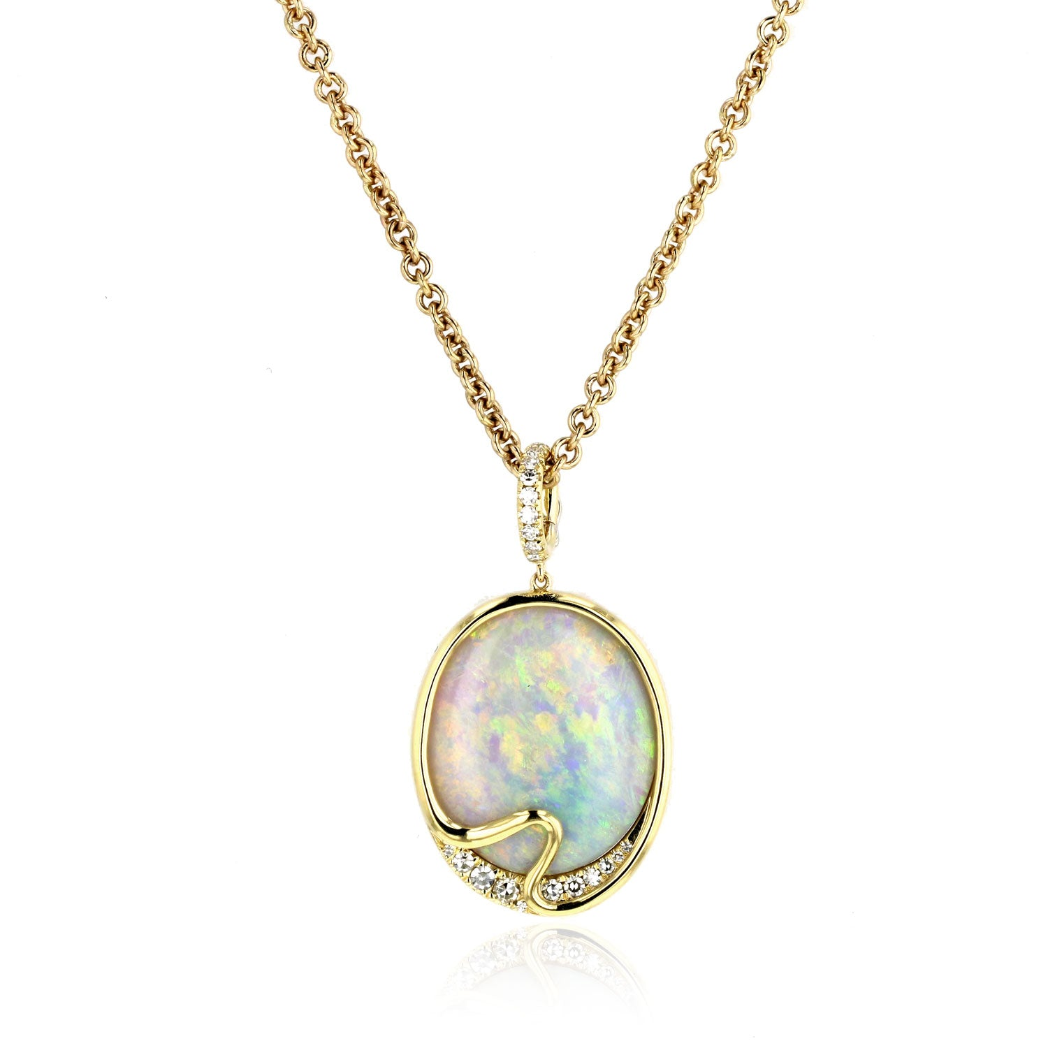 Opal and Diamond Necklace - 18k Yellow Gold