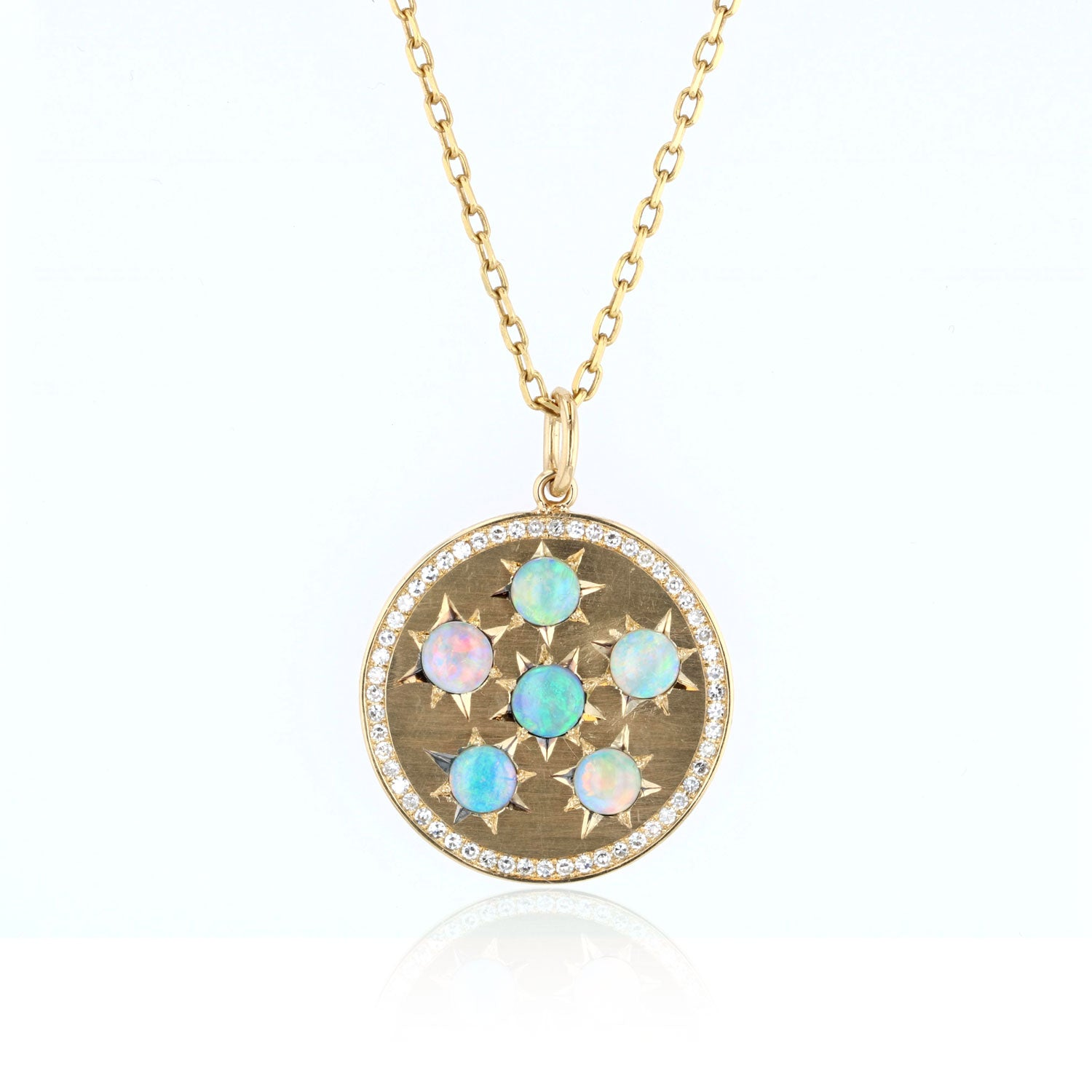 Disk Pendant with Opals And Diamonds  - 18K Yellow Gold