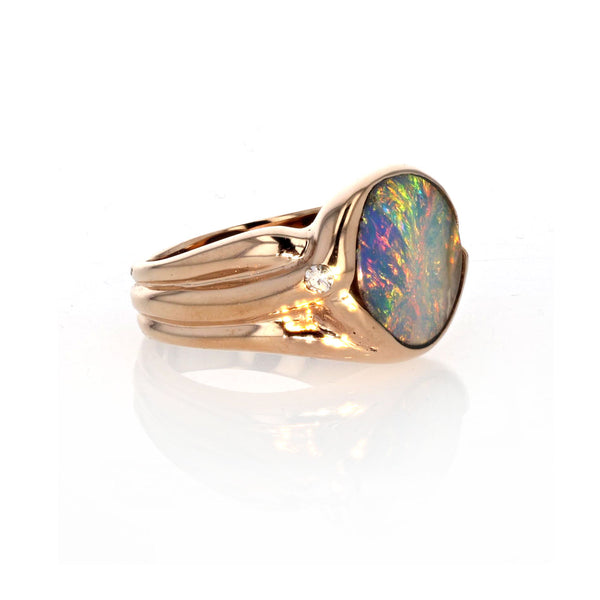 One Of A Kind Pastel Boulder Opal Ring 18K Rose Gold