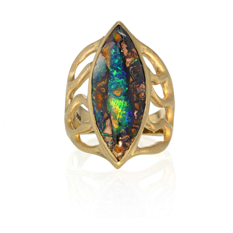 Marquise Boulder Opal Ring