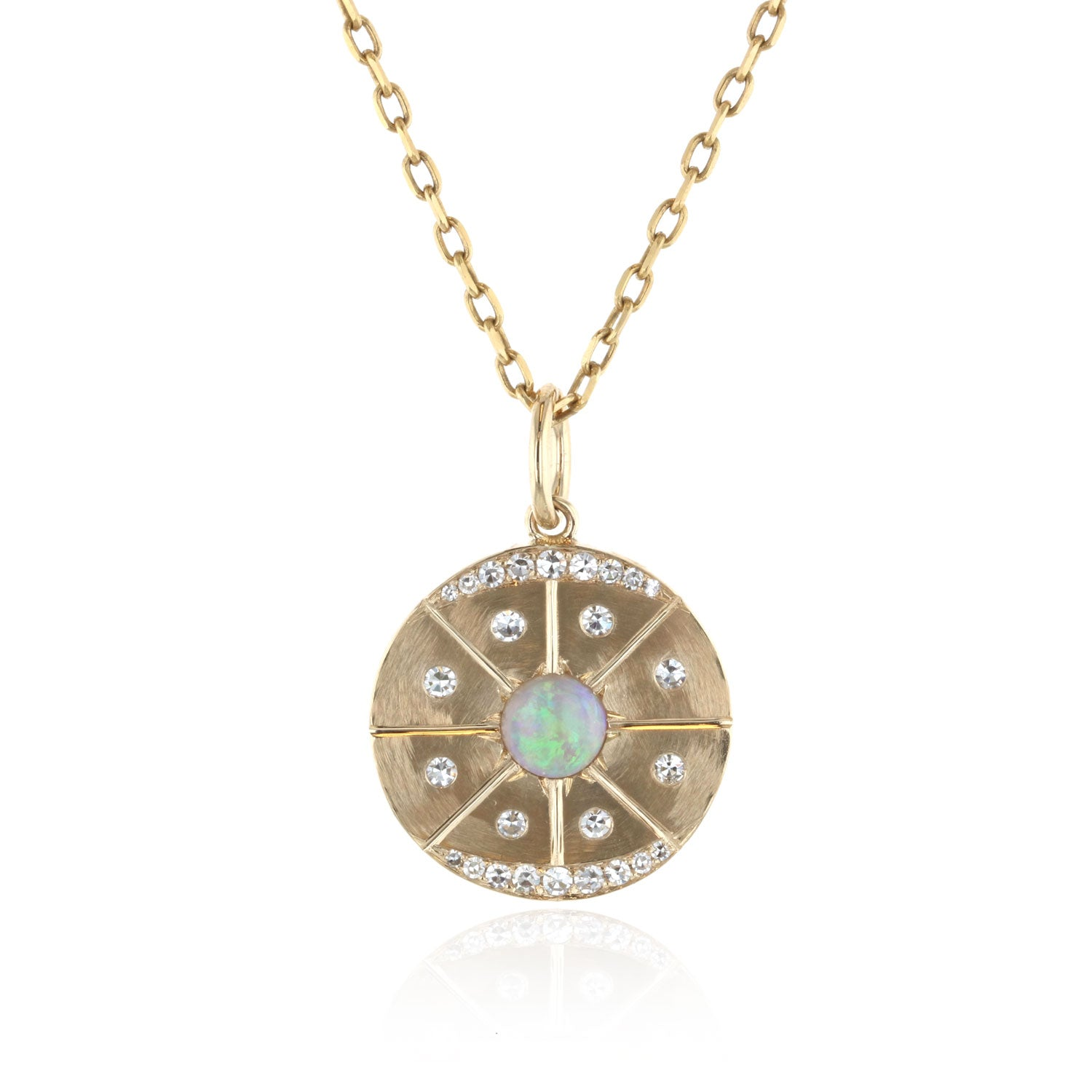 Disk Pendant with Opal And Diamonds - 18K Yellow Gold