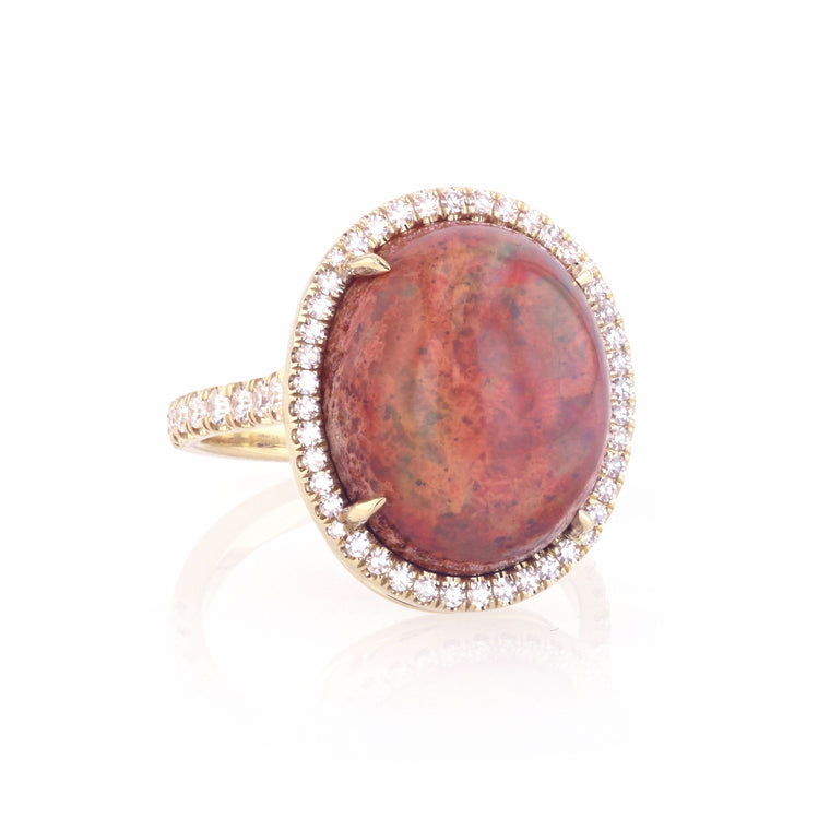 Mexican Matrix Fire Gem Opal Ring - 18K yellow gold with Diamonds