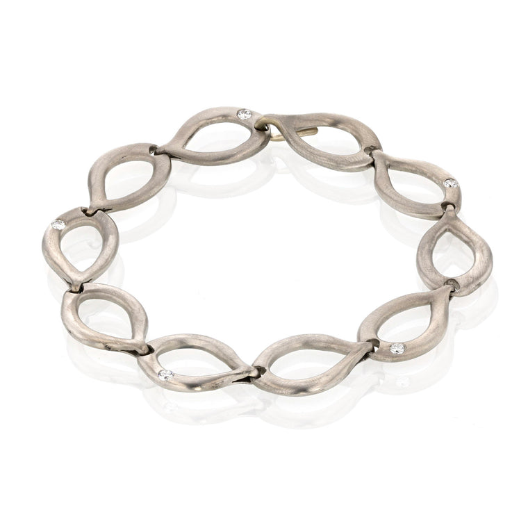 Slinky Link Palladium Bracelet with diamonds