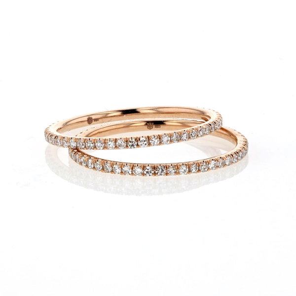 Diamond Pave 18K Rose Gold Band