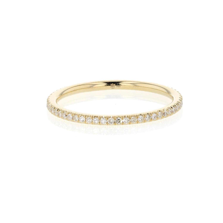 Diamond Pave 18K Yellow Gold Band