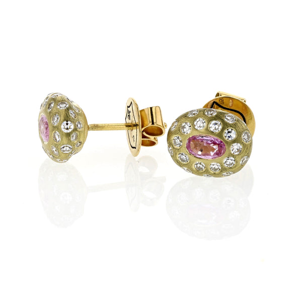 Breeze Pink Sapphire And Diamond Studs - 18k Yellow Gold