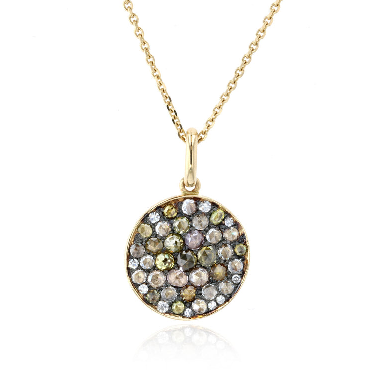Disk Pendant with rose cut colored diamonds - 18K Yellow Gold