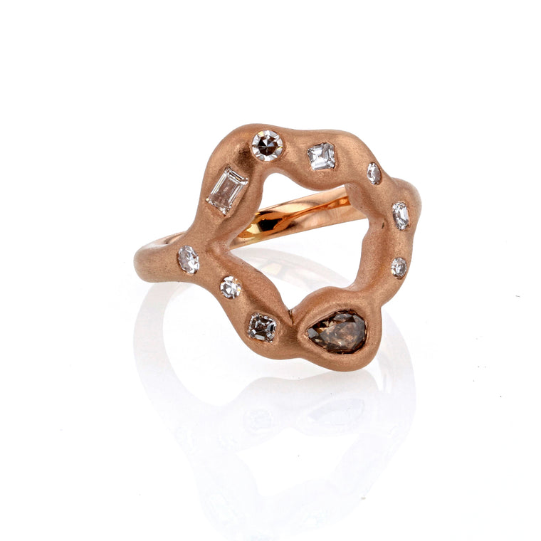 Heart Ring Colored Diamonds in 18K Rose Gold