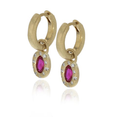 Ruby Huggie Charm Earrings - 18K Yellow Gold