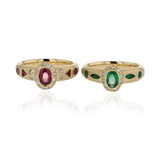 Deep Sea Ring with Emeralds - 18K Yellow Gold