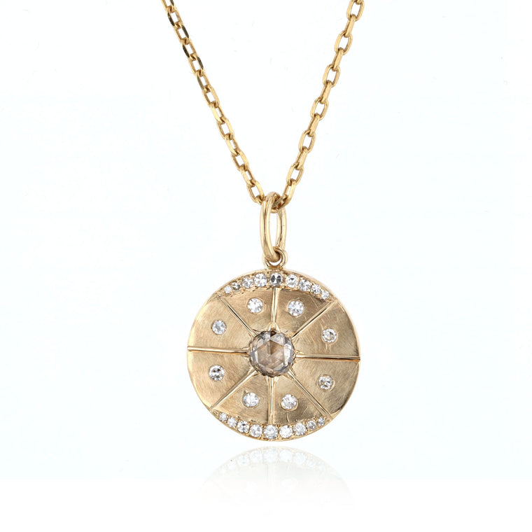 Disk Pendant with Diamonds - 18K Yellow Gold
