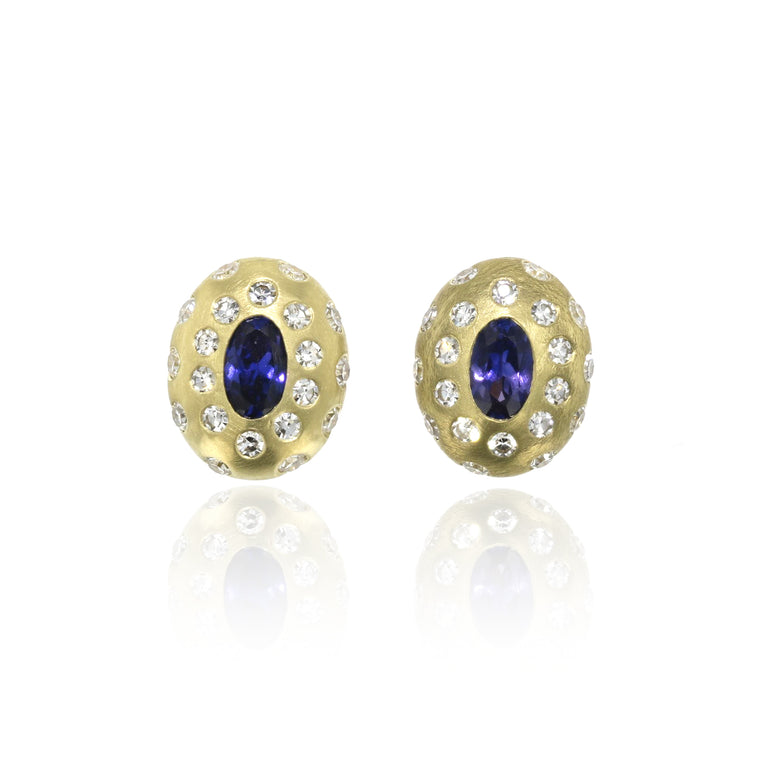 Breeze Blue Sapphire And Diamond Studs - 18k Yellow Gold