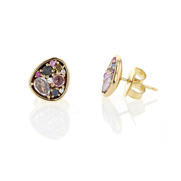 Mixed pastel rose cut Sapphires stud earrings