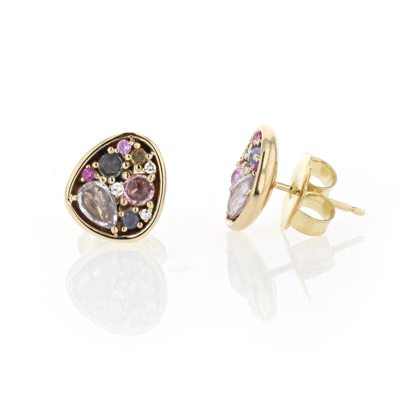 Mixed pastel rose cut Sapphires and Diamond stud earrings