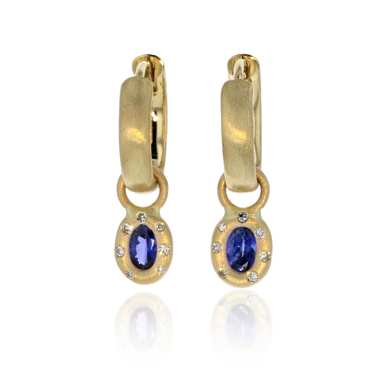 Blue Sapphire Huggie Charm Earrings - 18K Yellow Gold